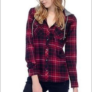 a70221e5 Empyre · NWOT Red Plaid / Checkered Hooded Flannel Shirt